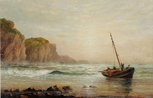 William Adolphus KNELL - Painting - Fishing Boats on the Shore and Shipping off the Coast (Pair)