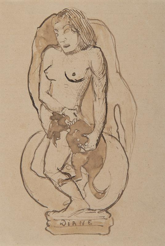 Paul GAUGUIN - Drawing-Watercolor - Diane - Diane oviri