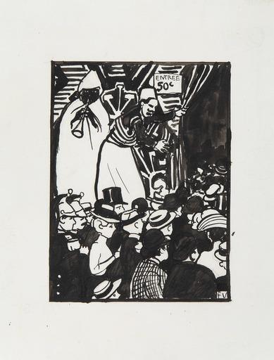 Félix VALLOTTON - Dibujo Acuarela - La rue du Caire, Exposition Universelle V