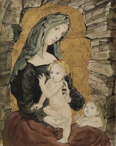 Tsuguharu FOUJITA - Peinture - Maternité