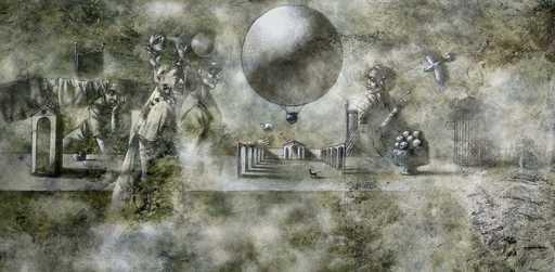 Bobur ISMOILOV - Peinture - Full Moon Hot Air Balloon
