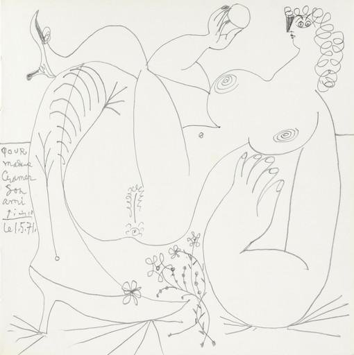 Pablo PICASSO - Dibujo Acuarela - Femme nue aux souliers