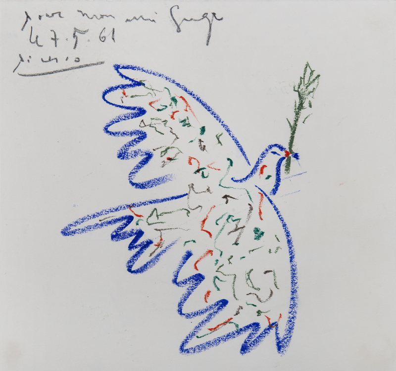 Pablo PICASSO - Drawing-Watercolor - Colombe