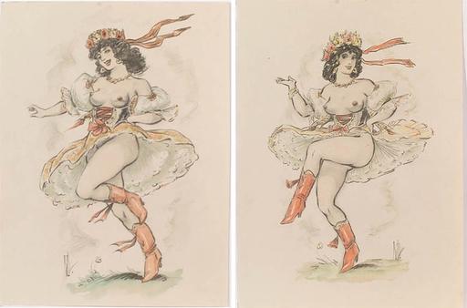 Jaroslav STIKA - Dibujo Acuarela - Two Erotic Drawings, 1930s
