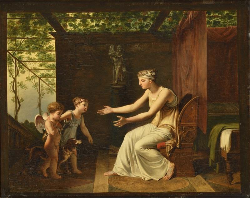Jean Baptiste MALLET - Peinture - L'innocence et la fidélité ramenant l'Amour