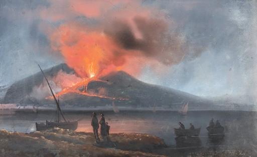 Enrico LA PIRA - Disegno Acquarello - Irruption du vesuve