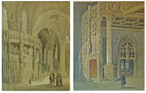 Carl SCHAROLD - Zeichnung Aquarell - Gothic cathedral interior