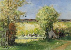 Auguste-Jean CLAIRE - Pintura - Le coteau à Saint Leonard des Bois