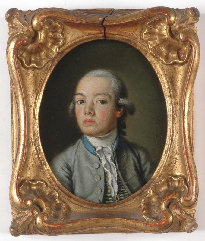 """Miniatur - """"Portrait of a Boy"""", oil on copper miniature,"""