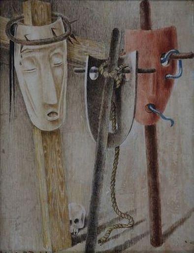 Jean LAMBERT-RUCKI - Painting - Composition aux masques