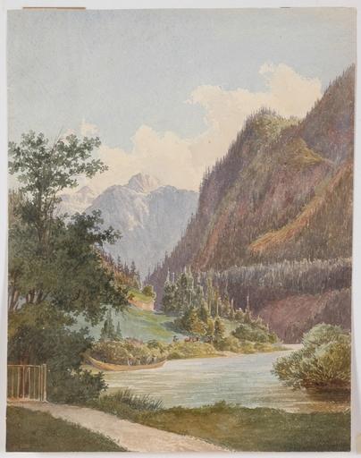 "Dessin-Aquarelle - ""Motif of Lake Schliersee in Bavaria"", Watercolor"
