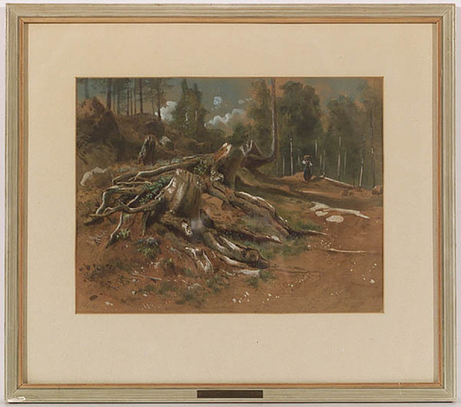 """Gottfried SEELOS - 水彩作品 - """"Forest Study"""", Watercolor, late 19th Century"""