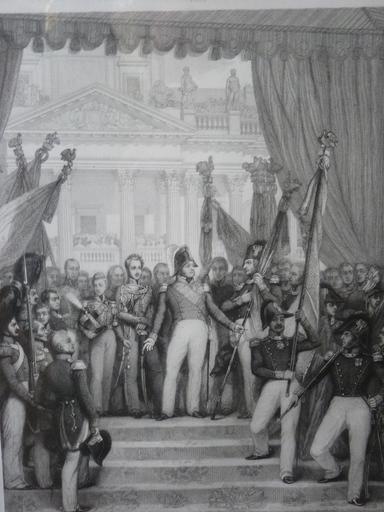 Joseph Désiré COURT - 版画 - Louis-Philippe Donnant les Drapeaux à la Garde Nationale