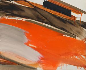 Huguette Arthur BERTRAND - Painting - Déferlant rouge et gris sur brun
