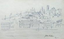 Jean DUFY - Dessin-Aquarelle - Florence - Les quais de l'Arno