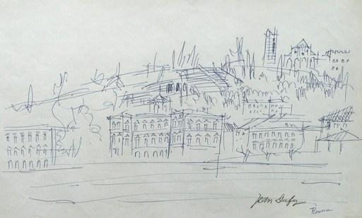 Jean DUFY - Dibujo Acuarela - Florence - Les quais de l'Arno