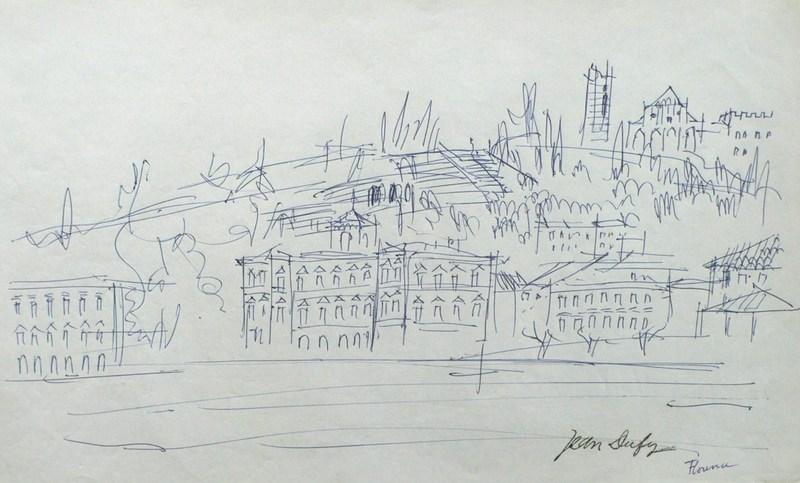 Jean DUFY - Disegno Acquarello - Florence - Les quais de l'Arno