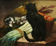 Casimir RAYMOND - Painting - Chat et chatons