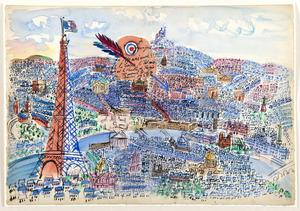 Raoul DUFY - Dessin-Aquarelle - Le Coeur, le Palais et le Ventre de Paris