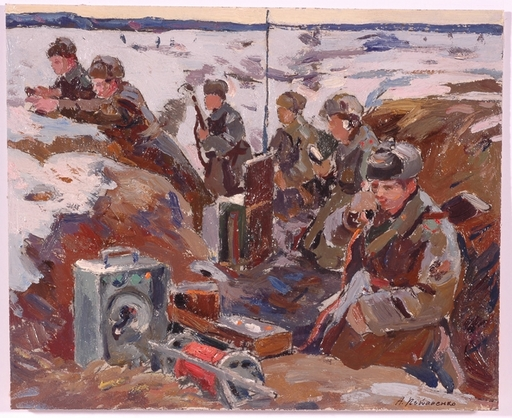 "Andrei Ilech POTAPENKO - Painting - ""WWII in Russia"", Oil Painting, 1950s"