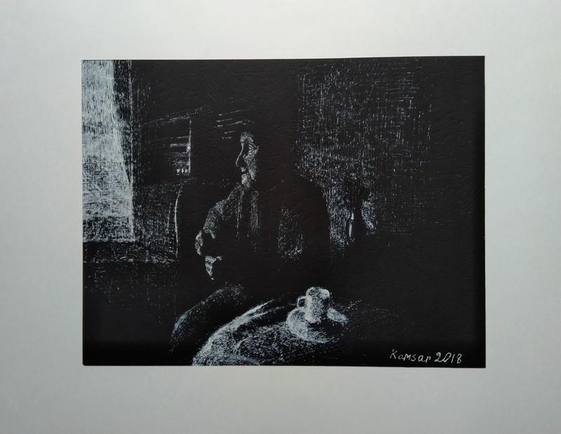 Ohanyan KAMSAR - Disegno Acquarello - Listening to the radio