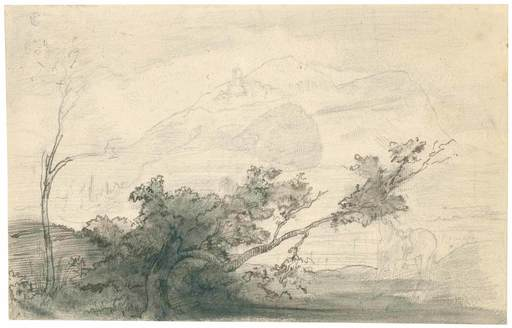 Edgar DEGAS - Dibujo Acuarela - Paysage à l'arbre penché, Italie.