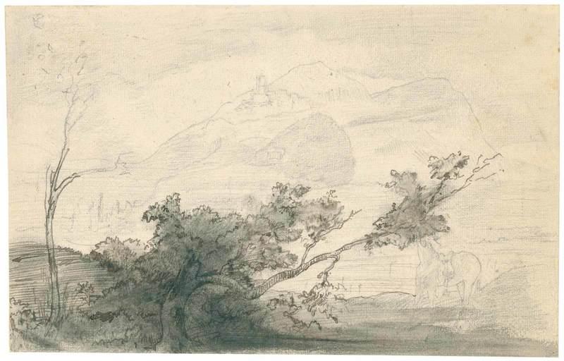 Edgar DEGAS - Drawing-Watercolor - Paysage à l'arbre penché, Italie.
