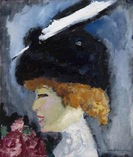 Kees VAN DONGEN - Painting - Portrait de femme à la plume blanche