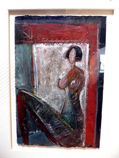 Vladimir CORA - Pintura - Mujer en la ventana