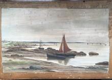 Auguste ALLONGÉ - Drawing-Watercolor - Barcos