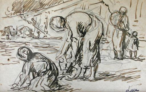 Maximilien LUCE - Drawing-Watercolor - Les lavandières