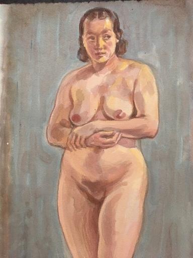 Andreas GERING - Drawing-Watercolor - Stehender Frauenakt