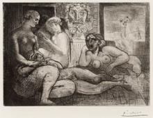 Pablo PICASSO - Estampe-Multiple - Quatre femmes nues et tête sculptée, Pl.82 from 'La suite Vo