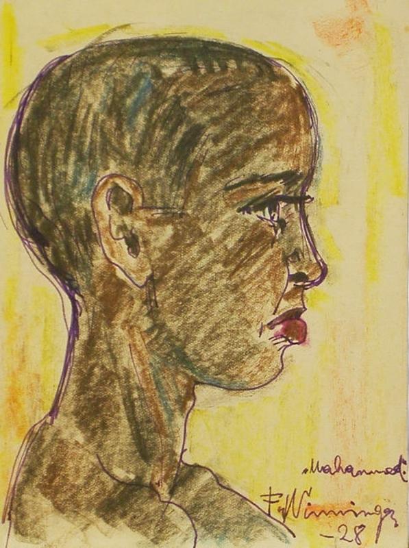 Franz WINNINGER - Dibujo Acuarela - Mahamed