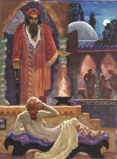 """Erwin STOLZ - Painting - """"In Harem"""" by Erwin Stolz, 20th Century, Tempera"""