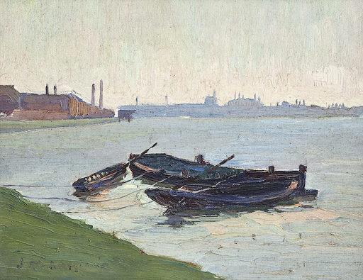 Friedrich KALLMORGEN - Pintura - Flusslandschaft mit Kahn und Stadtsilhouette