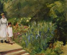 马克斯•利伯曼 - 绘画 - Enkelin und Kinderfrau im Nutzgarten