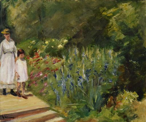 Max LIEBERMANN - Peinture - Enkelin und Kinderfrau im Nutzgarten