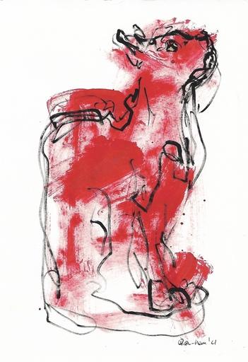 Nicole LEIDENFROST - Zeichnung Aquarell - Katzenstudie