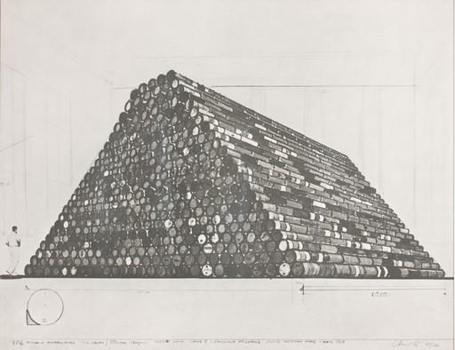 CHRISTO - Estampe-Multiple - Tonneaux metalliques, project for Galleria Nazionale d'Arte