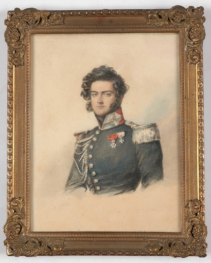 "Candide BLAIZE - Miniature - ""Portrait of an Officer"", Watercolor"