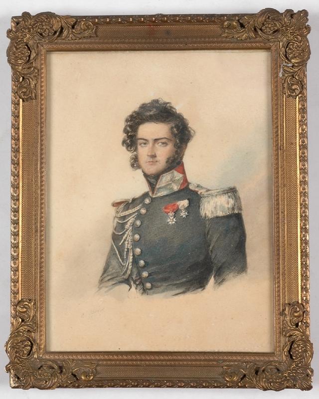 "Candide BLAIZE - Miniature - ""Portrait of an Officer"", Watercolor"