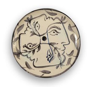 Pablo PICASSO - Céramique - Quatre profils enlacés