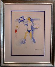 Kees VAN DONGEN - Print-Multiple - Femme et enfant jouant dans la plage