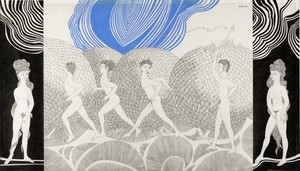 Wolfgang HUTTER - Drawing-Watercolor - Die Mädchen müssen warten