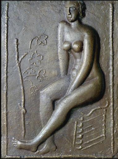 Moissej KOGAN - Sculpture-Volume - Nu féminin assis à côté d'une plante