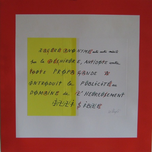 Jacques VILLEGLÉ - Estampe-Multiple - SÉRIGRAPHIE+COLLAGE SIGNÉE CRAYON HANDSIGNED SILKSCREEN