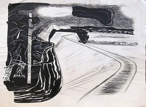 Erich HARTMANN - Dibujo Acuarela - #19936: Abstrakte Landschaft.