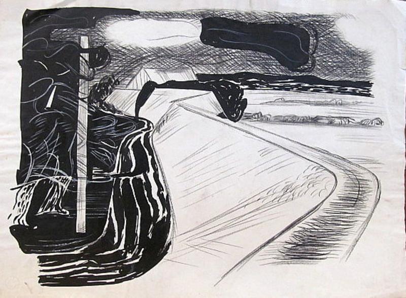 Erich HARTMANN - Dessin-Aquarelle - #19936: Abstrakte Landschaft.