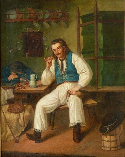 August CANZI - Painting - Ungarischer Bauer in Volkstracht mit schlafender Person .